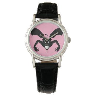 Diablo rosado y negro reloj de mano