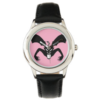 Diablo rosado y negro relojes de pulsera