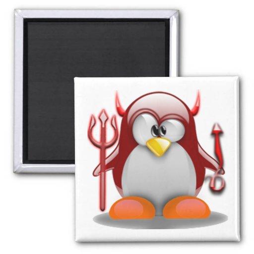 Diablo Tux (Linux Tux) Imán Cuadrado