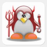 Diablo Tux (Linux Tux) Pegatina Cuadrada