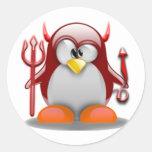 Diablo Tux (Linux Tux) Pegatina Redonda