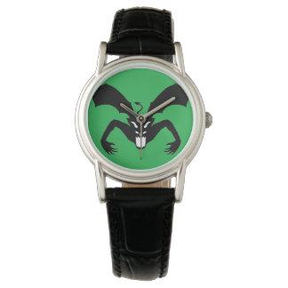 Diablo verde y negro relojes de pulsera
