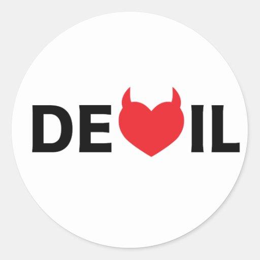 Diablo y corazón etiquetas redondas