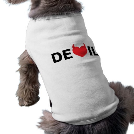 Diablo y corazón camiseta de mascota