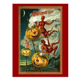 Diablos de Halloween y postal de JOLs