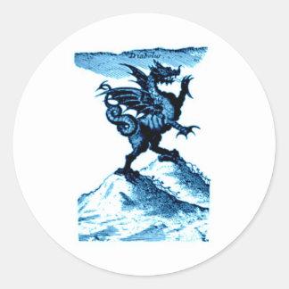 DIABOLUS el vintage c.1682 del DRAGÓN en azul Pegatina Redonda
