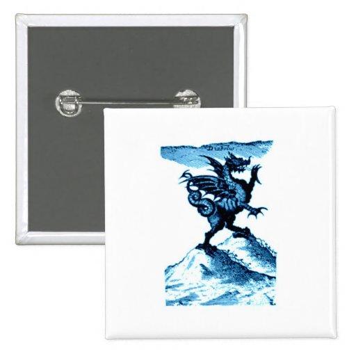 DIABOLUS the DRAGON vintage c.1682 in blue Pinback Button