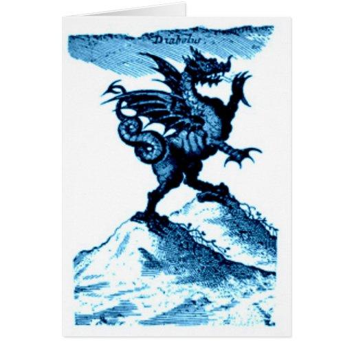 DIABOLUS the DRAGON vintage c.1682 in blue Greeting Cards