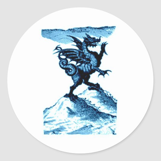 DIABOLUS the DRAGON vintage c.1682 in blue Classic Round Sticker