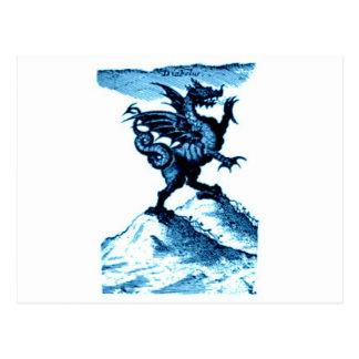 DIABOLUS the DRAGON vintage c.1682 in blue Postcard