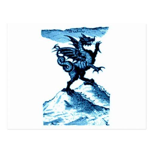 DIABOLUS the DRAGON vintage c.1682 in blue Post Card