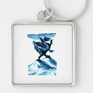 DIABOLUS the DRAGON vintage c.1682 in blue Silver-Colored Square Keychain