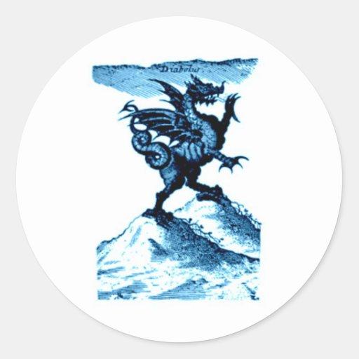 DIABOLUS the DRAGON vintage c.1682 in blue Round Sticker