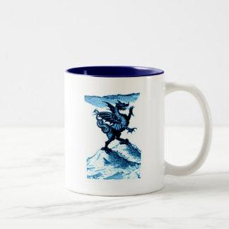 DIABOLUS the DRAGON vintage c.1682 in blue Two-Tone Coffee Mug