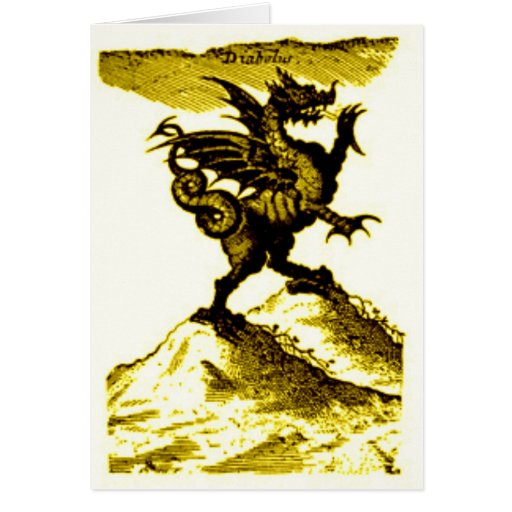 DIABOLUS the DRAGON vintage c.1682 in Gold Greeting Cards