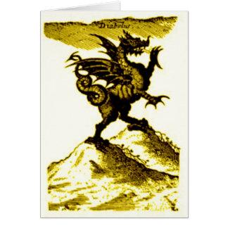 DIABOLUS the DRAGON vintage c.1682 in Gold Greeting Card