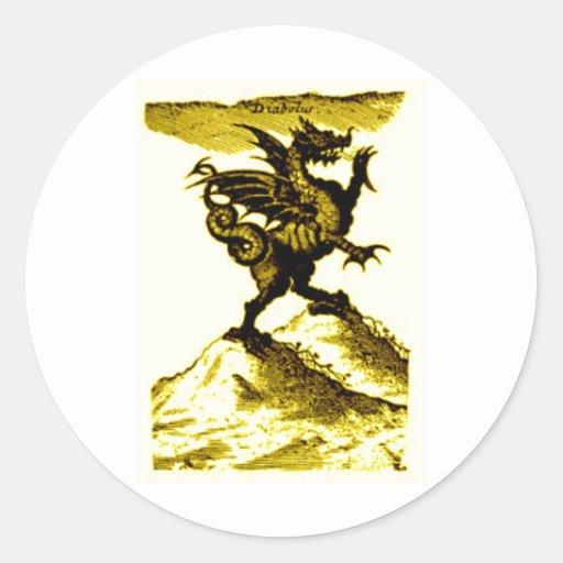 DIABOLUS the DRAGON vintage c.1682 in Gold Round Sticker