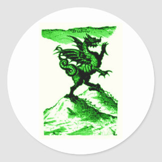 DIABOLUS the DRAGON vintage c.1682 in Green Classic Round Sticker