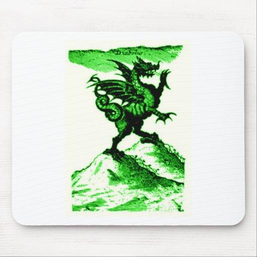 DIABOLUS the DRAGON vintage c.1682 in Green Mousepads