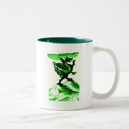 DIABOLUS the DRAGON vintage c.1682 in Green Mugs