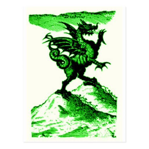 DIABOLUS the DRAGON vintage c.1682 in Green Postcard