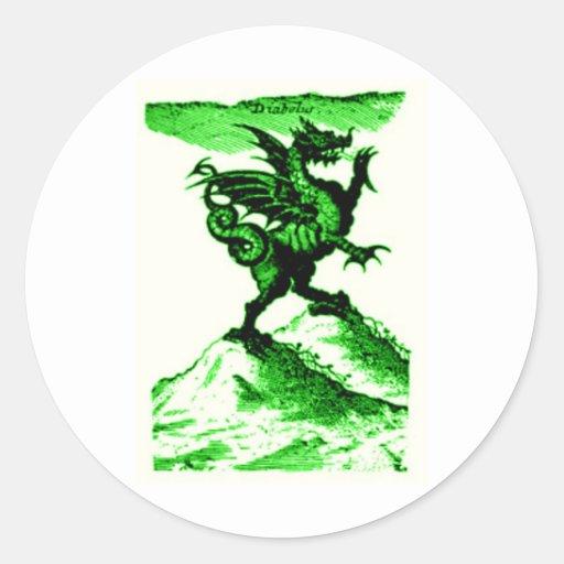 DIABOLUS the DRAGON vintage c.1682 in Green Round Sticker