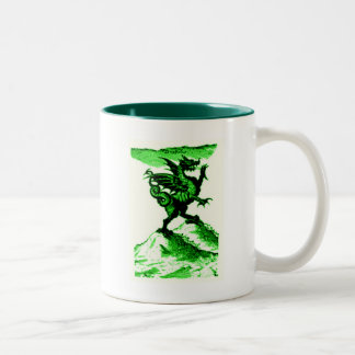 DIABOLUS the DRAGON vintage c.1682 in Green Two-Tone Coffee Mug