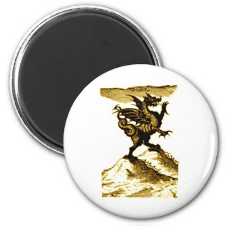 DIABOLUS the DRAGON vintage c.1682 in Sepia Tone 2 Inch Round Magnet