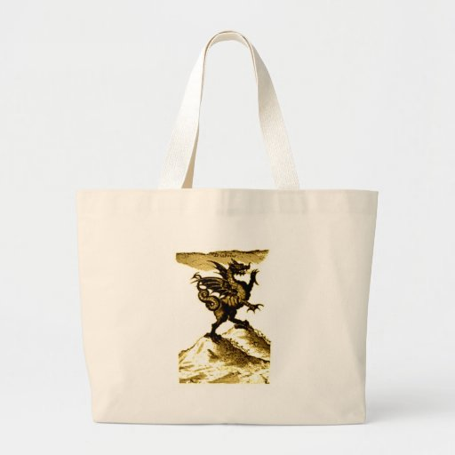 DIABOLUS the DRAGON vintage c.1682 in Sepia Tone Tote Bag