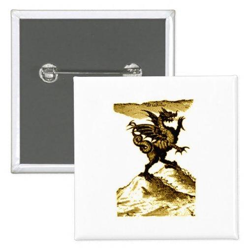 DIABOLUS the DRAGON vintage c.1682 in Sepia Tone Pin