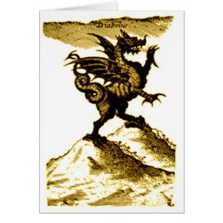 DIABOLUS the DRAGON vintage c.1682 in Sepia Tone Greeting Card