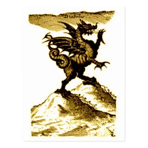 DIABOLUS the DRAGON vintage c.1682 in Sepia Tone Postcards