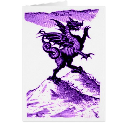 DIABOLUS the DRAGON vintage c.1682 in violet Card