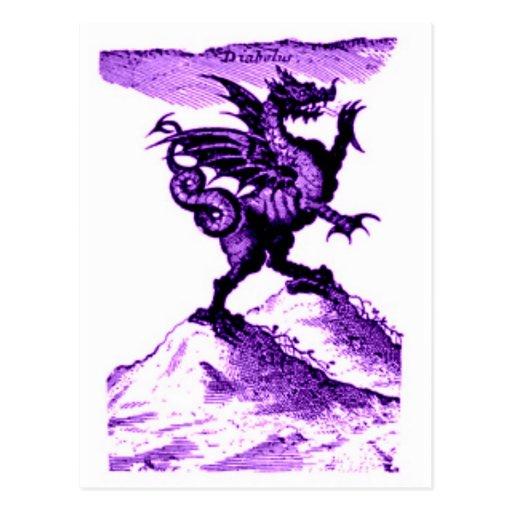 DIABOLUS the DRAGON vintage c.1682 in violet Post Cards