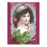 Diadema que lleva de la mujer por el Año Nuevo Tarjetas Postales