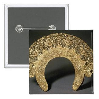 Diadema rusa con el trabajo afiligranado pin cuadrada 5 cm