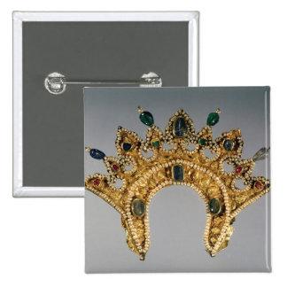 Diadema rusa, oro fijado con las perlas pin cuadrada 5 cm