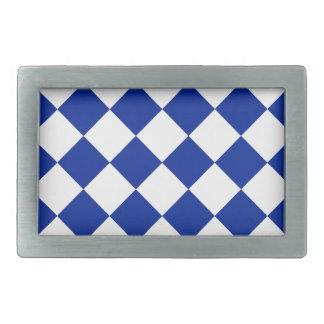 Diag a cuadros - azul blanco e imperial hebillas cinturón rectangulares