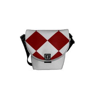 Diag a cuadros - blanco y rojo oscuro bolsa de mensajería