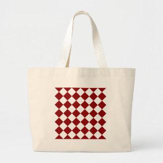 Diag a cuadros - blanco y rojo oscuro bolsa tela grande