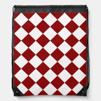 Diag a cuadros - blanco y rojo oscuro mochila