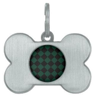 Diag a cuadros - negro y verde oscuro placa de nombre de mascota