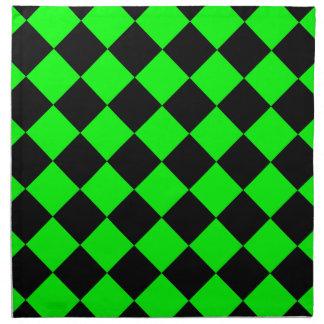 Diag a cuadros - verde negro y eléctrico servilleta