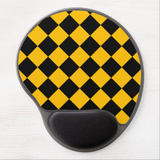 Diag Checkered - Black and Amber Gel Mouse Pad