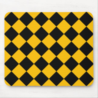 Diag Checkered - Black and Amber Mouse Pad