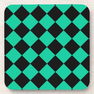 Diag Checkered - Black and Caribbean Green Coaster