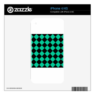 Diag Checkered - Black and Caribbean Green iPhone 4 Skin