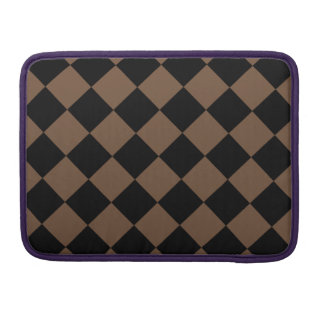 Diag Checkered - Black and Coffee MacBook Pro Sleeve