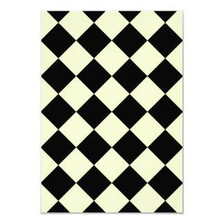 Diag Checkered - Black and Cream 3.5x5 Paper Invitation Card