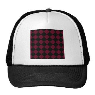 Diag Checkered - Black and Dark Scarlet Trucker Hat